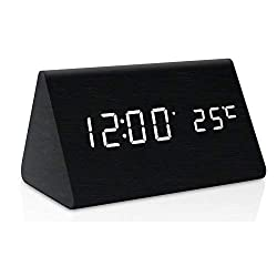 Zeekoo Wooden LED Digital Alarm Clock, Displays Time Date and Temperature, Cube USB/3AAA Battery Powered Sound Control Desk Alarm Clock for Kid, Home, Office, Daily Life, Heavy Sleepers (Black)