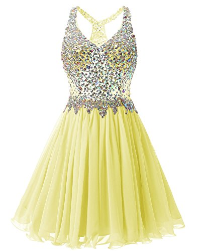 Fanciest Women's Short Beaded Dresses Prom Yellow Homecoming 2018 Bridesmaid Dress rradq