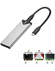 SSK Aluminum M.2 NVME SSD Enclosure Adapter, USB 3.1 Gen 2 (10 Gbps) to NVME PCI-E M-Key Solid State Drive External Enclosure (Fits only NVMe PCIe 2242/2260/2280)