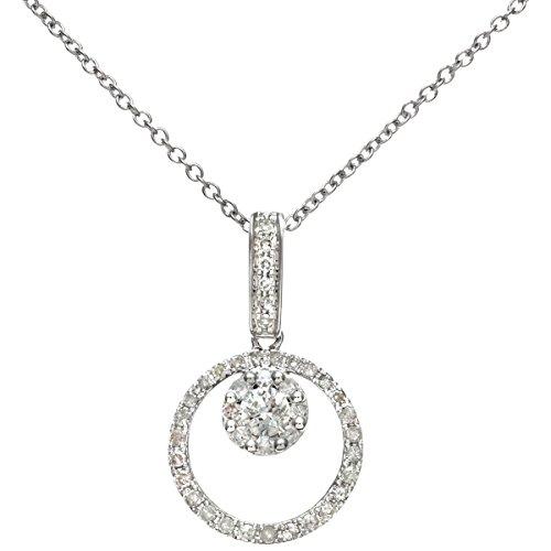 Revoni Bague en or blanc-18carats-Diamant 0.25Cts rond avec doublure intérieure goutte Pendentif sur chaîne 40cm