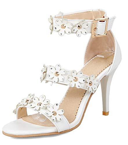 Blanc Bal Aisun Bride Sandales Cheville Clouté Femme Fleurs Sexy Stiletto 0ggFxUzfw