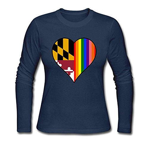 LL&SHTT Women's Long Sleeve T-Shirt, Maryland State Flag Heart and Rainbow Under Shirt - In Shopping Maryland Annapolis