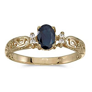 0.43 Carat ct 10k Gold Oval Blue Sapphire Solitaire Diamond Swirl Victorian Promise Fashion Ring 2/5 CT
