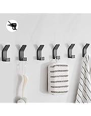 Bogeer 6 stuks handdoekhaken, plakhaken, wandhaken voor kledingkast, badkamer, toilet, handdoekhaken, waterdicht, zonder boren, zwart.