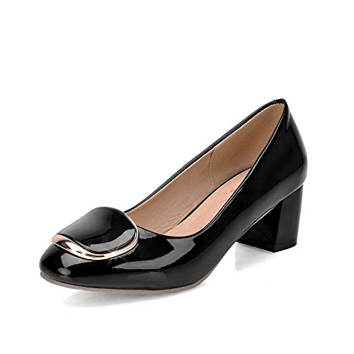 Noir cuir à pour femme enfiler shoes brevet heels kitten balamasa pumps massif en 7xpH6w6