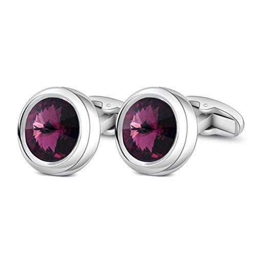 - MERIT OCEAN Charm Style Cufflinks Fancy Swarovski Crystal Cuff Links