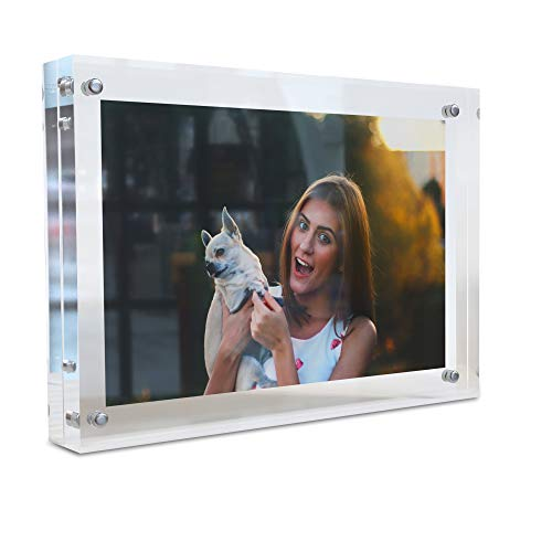 (MÍRA-K Acrylic Picture Frame 5 x 7 with Magnetic Closure | Crystal Memories | Double Sided Frameless Lucite Photo Frame for Tabletop | Decorative Keepsake Display for Tickets, Postcards and Awards)