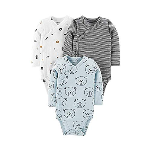 Carter's Baby Boys' 3-Pack Side-Snap Bodysuits (Preemie, Mint/Bear)