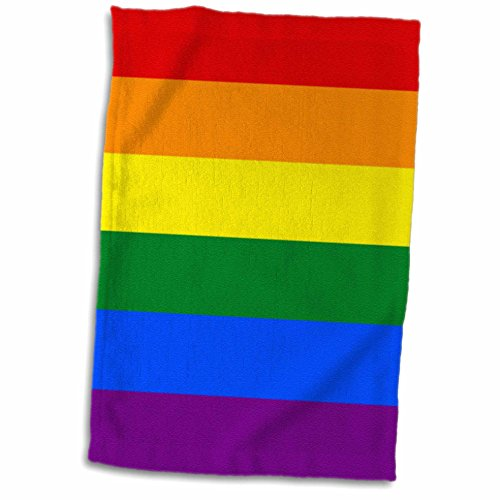 3D Rose Rainbow Flag Colorful Stripes-Multicolored-Gay LGBT Movement-Pride Parade Towel, 15