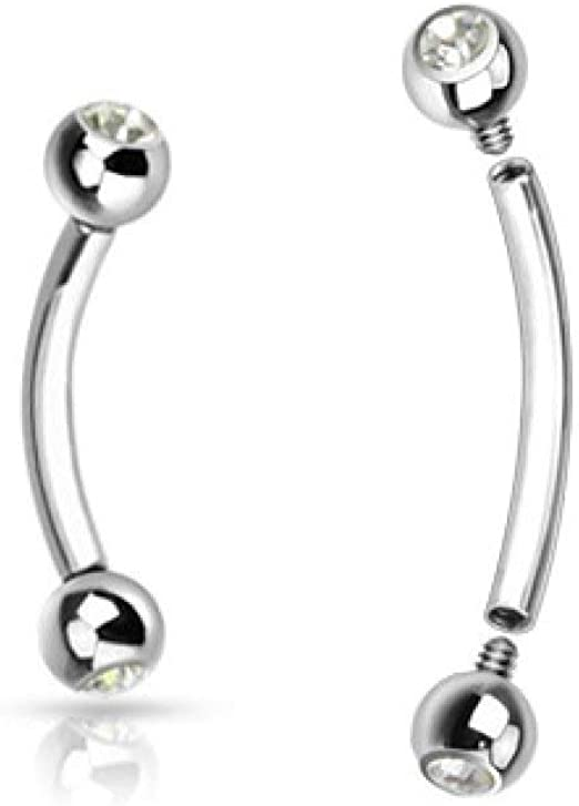 Details about  /1 Pc Gems Internally Threaded 316L Surgical Steel Rook or Eyebrow Curve 16G 8mm