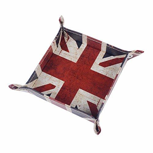 (Funnytoday365 Union Jack Uk United Kindom National Flag Pu Leather Mens Catchall Change Key Wallet Coin Box Storage Tray Valet)