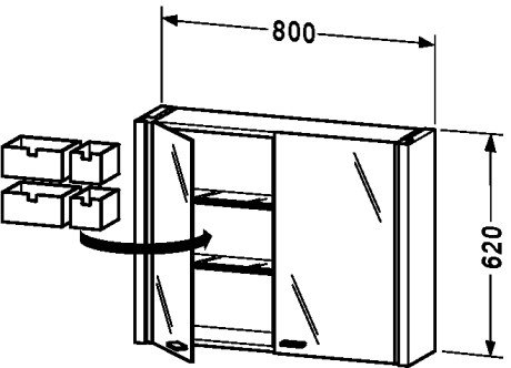 Glass Cabinet Duravit (Mirror cabinet White High Gloss, d x w: 200x800)