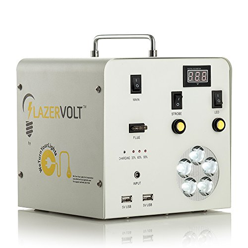 Blackout Relief power Box Portable Generator – Rechargeable Power Supply & Lighting System – 12-VOLT DC/USB/Solar Panel Outputs - Use for RV Appliances, NOW WITH 12V EXTERNAL DC TO AC INVERTER -
