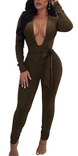 TBONTB Womens Sexy Sparkly Deep V Neck Party Clubwear Bandage Romper Jumpsuit (Medium, Army Green)