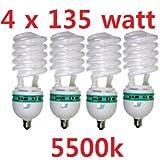 CanadianStudio Pro NEW 4 x 135 Watt CFL 5500K 92 CRI Fluorescent Continuous Pure White Light Output (Lm) 4800 /each Light Bulb