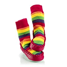 Mocc Ons Baby Infant Slipper Socks 6-12 Months Rainbow Stripe