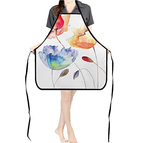 Jiahong Pan Kitchen Chef Apron Summer Flowers in Retro Style Effect Nature Bl Sing Pink Yellow Adjustable Bib Apron for CookingK17.7xG26.6xB9 - I Lucy Chefs Love Hat