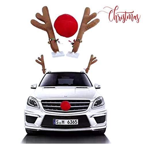 Salaks Christmas Ornaments Car Reindeer with Jingle Bells Costume Reindeer Christmas Car Character Kit Party Accessory
