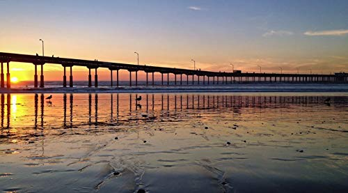 Sunset at Beach Pier, Ocean Beach, San Diego, California Photography A-93700 (12x18 SIGNED Print Master Art Print w/Certificate of Authenticity - Wall Decor Travel ()