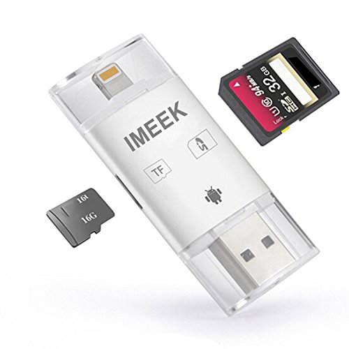 IMEEK SD TF Card Reader with Lightning Micro USB Connector, External Storage Memory Expansion for iPhone/iPad/Android phones/Mac/PC - White