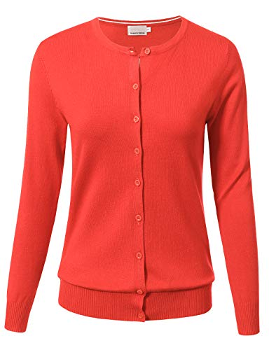 ARC Studio Women Button Down Long Sleeve Crewneck Soft Knit Cardigan Sweater XL Hot Coral ()