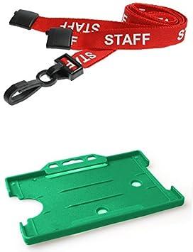 Identity Plus Rouge Pre Imprimee Personnel Lanyard Avec Paysage Cartes De Visites Vert