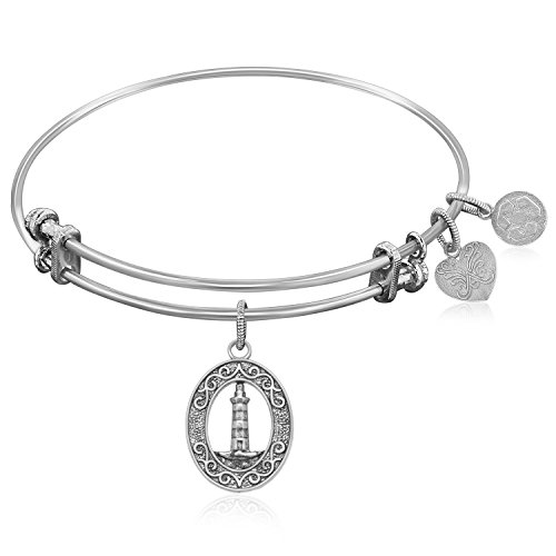 (Jewels By Lux Expandable Bangle in White Tone Brass with Lighthouse Beacon of Hope Symbol)