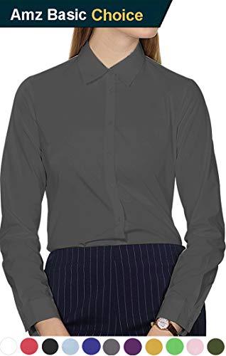 diig Work Blouses, Long Sleeve Basic Dress Shirt for Women Gray Large / - Set Work