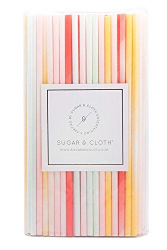 Sugar & Cloth SC35PSGS125 Paper Straws, Ombre Multi-Color, 125 Count (Champagne Color Paper Plates)