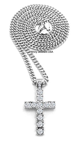 Hop Hip Cross Pendant Silver - Shiny Jewelers USA MENS ICED OUT EGYPTIAN SILVER MICRO CROSS HIP HOP PENDANT CUBAN CHAIN NECKLACE (18