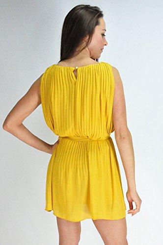femmes Sans manches Jaune plissé design bouton fermeture de robe robe de soirée