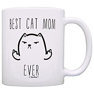 Funny Cat Gifts Best Cat Mom Ever Cat Mug Funny 2 Pack Gift 15-oz Coffee Mugs Tea Cups 15oz Mom