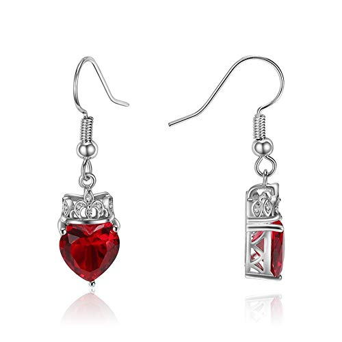 SKA Jewelry Queen of Hearts Earrings for Women 9mm Heart Shaped Red Cubic Zirconia with Crown Hook Earrings White Gold Plated - Heart Crown Dangle