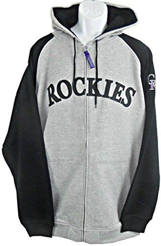 VF Colorado Rockies MLB Mens Majestic Full Zip Hoodie Sweatshirt Gray Big & Tall Sizes (2XL) - Gray Mlb Sweatshirt