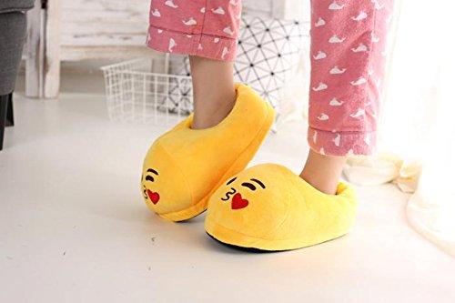 YINGGG Emoji Slippers Plush Fluffy House Shoes (Kiss) - Image 5