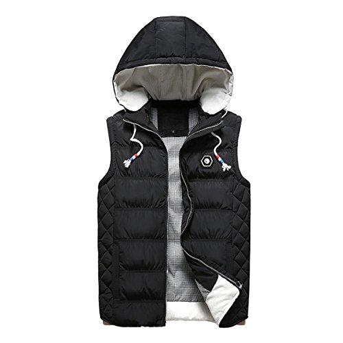 Winter Vest Jacket (Beuniclo Men's Puffer Vest Active Gilet Padded Vest Men Sleeveless Jacket Removable Hooded Winter Outwear Jacket (Black, Large))
