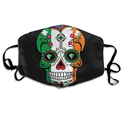 Sugar Skulls and The Flag of Ireland Mouth Mask Unisex Printed Fashion Face Mask Anti-dust -