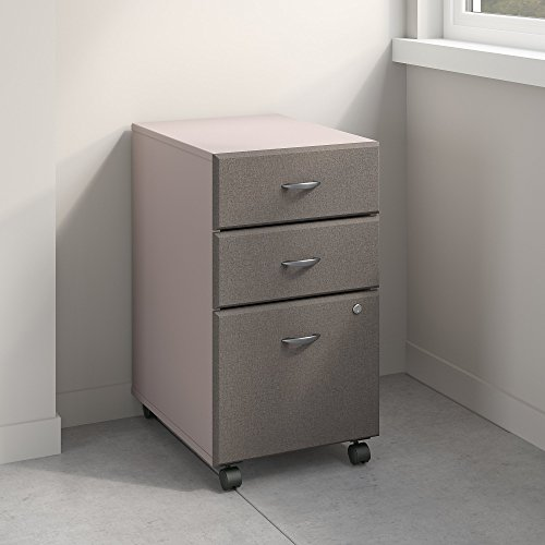 Pewter Filing File Cabinet (Series A 3 Drawer Mobile File Cabinet in Pewter and White Spectrum)
