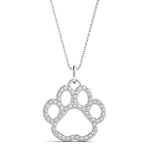 White 14KT 3/8 CT Round Cut Diamond Puppy Pendant Necklace Charm Amcor Design (0.375 Ct Round Diamond)
