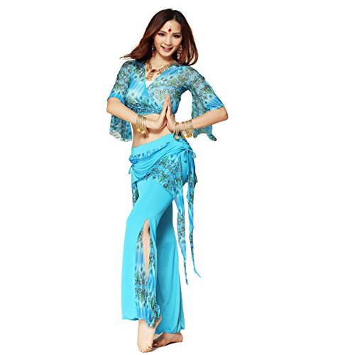 Pilot-trade Lady's Peacock Pattern Belly Dance Costume Practice Set Bra Top + Pant Skirt Sky Blue
