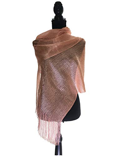TMS Womens Wedding Evening Wraps Shawl Glitter Metallic Prom Party Scarf with Fringe Scarves (Blush Pink/Gold)