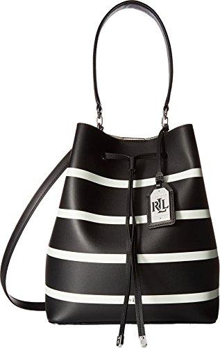 LAUREN Ralph Lauren Women's Dryden Debby Drawstring Black/Vanilla Stripe One - Ralph Bag Lauren Brown