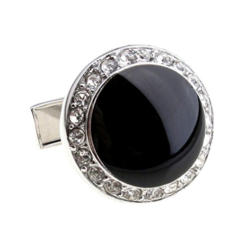 New Silver Round Rhinestone and Black Onyx Cufflinks with Lots of Bling