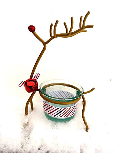 Reindeer Votive - Choice of Red Glitter or Candy Cane Ribbon