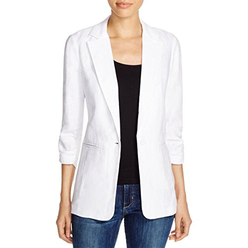 MICHAEL Michael Kors Womens Linen Ruched Basic Jacket White 6