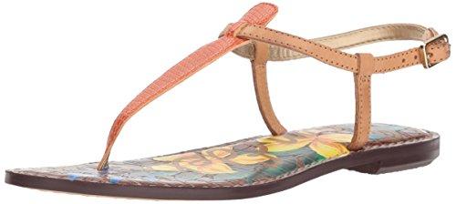 Sam Edelman Women's Gigi Flat Sandal, Tangelo/Natural, 10 M US