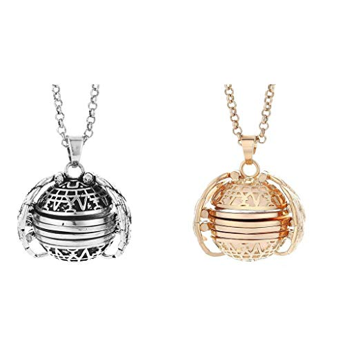 Women Necklace Ladies Expanding Photo Locket Necklace Pendant Angel Wings Gift Jewelry Decoration Choker (Rose Gold + Bronze)