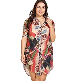 4ff4dbe338b7e Women Plus Size Print Linen Turn-Down Collar Vintage Casual Dress