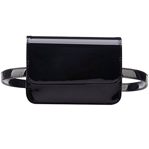 YAOSEN Women Patent Leather Waist Bag Solid Color Fanny Pack with Removable Belt (Black)