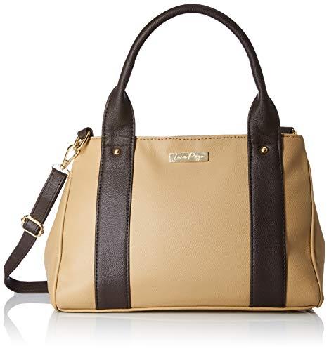 Leather Top Zip Shoulder Bag - Lica Pezo Kasha Women Handbag (Beige)